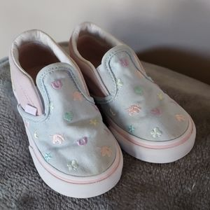 Toddler Girl Sz 6.5 Slip On Pastel Horse Sneakers